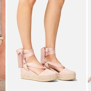 Pink lace up wedges